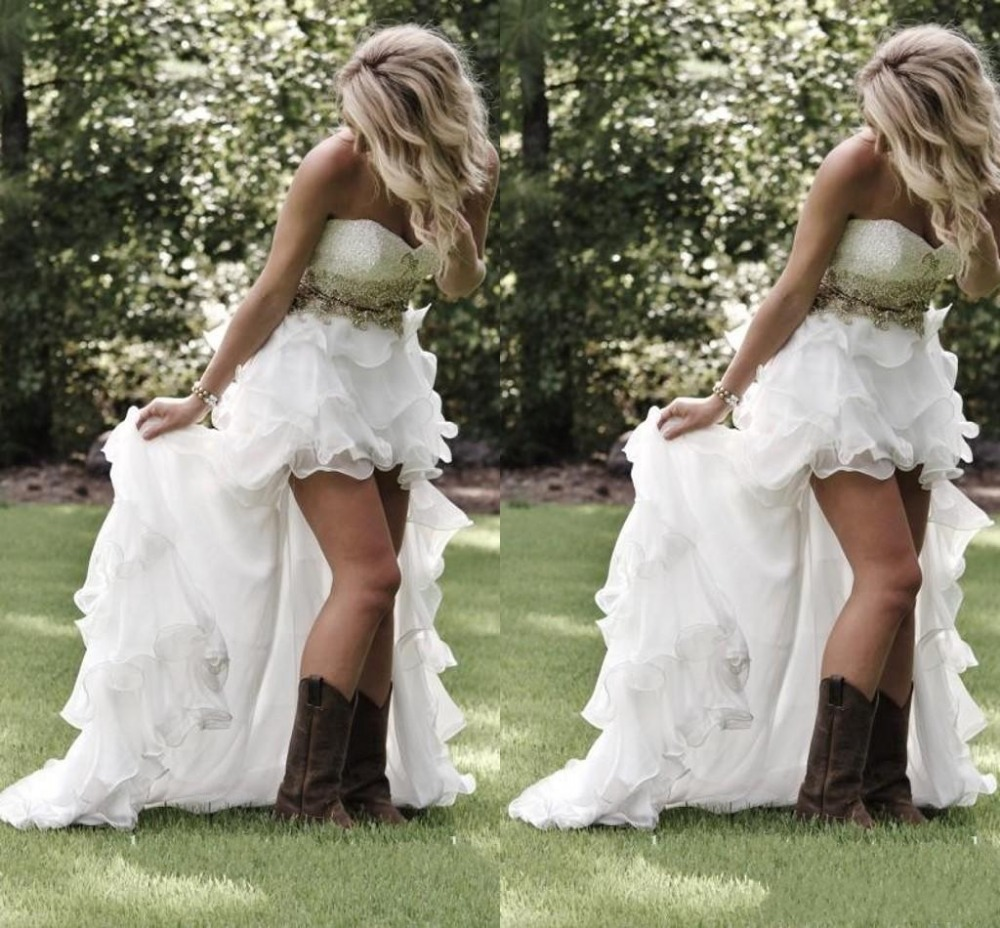 Modest High Low Sweetheart Ruffles Organza Asymmetrical Fitted Hi Lo Bridal Gowns Plus Size font b - Country Style Wedding Cakes