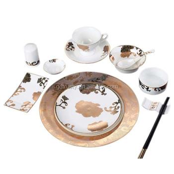 Hotel Crockery Porcelain Bone China Gold Rimmed Dinner Plates Dinnerware Sets White Rim