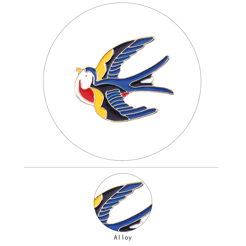 2020 Fashion Swallow Bird Brooches Hijab Pins Scarf Clip Colorful Wedding Accessories Enamel Brooches