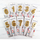 Glitter Powder Decor Numbers 0 to 9 Birthday Party Cake Candles In Golden Colors Popular Design