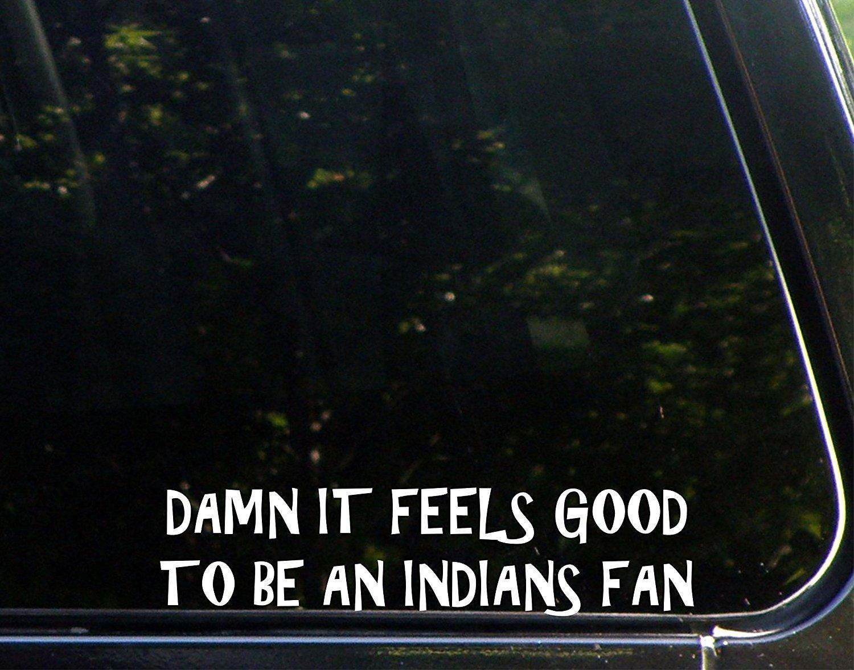 "Damn It Feels Good To Be An Indians Fan - 8 3/4""x 2 1/4"" - Vinyl Die Cut Decal / Bumper Sticker For Windows, Trucks, Cars, Laptops, Macbooks, Etc."