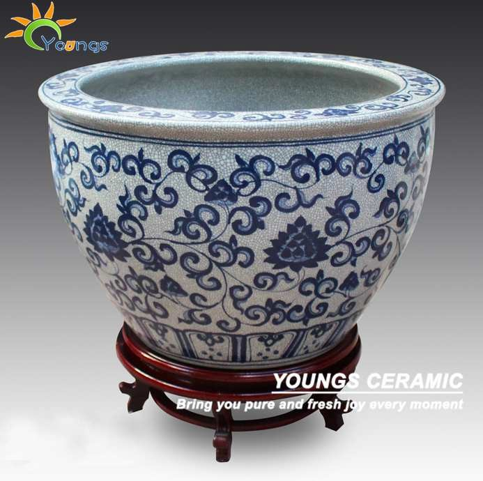 Special Large Chinese Ceramic Hand Painted Floral Blue And
