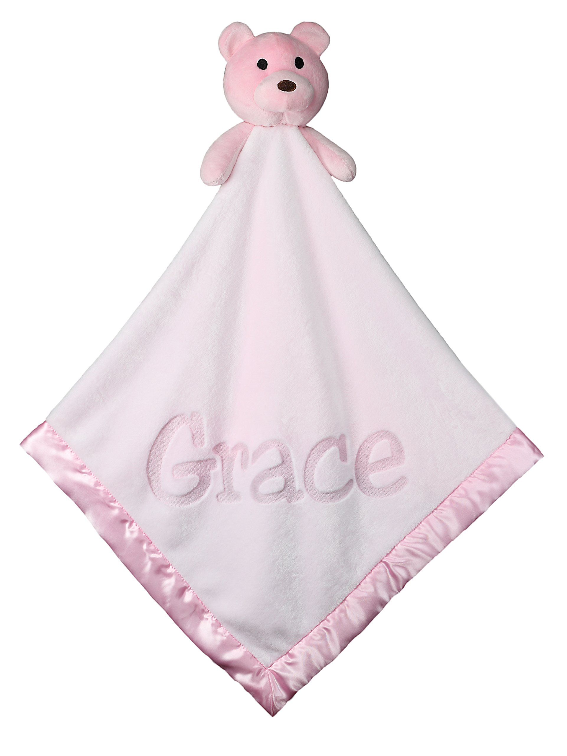 Large Ultra Plush Personalized Teddy Bear Baby Blanket Gifts, 40x40 Inch (Pink), Boy or Girl