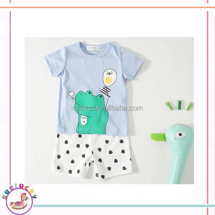 2017 Summer Baby Boy Clothes Sets Cute Frog Boy Set Cotton Shirts