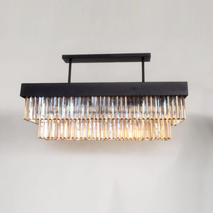Traditional Rectangle two tiers amber crystal chandelier light for Hotel,Home,restuarant,coffee shop