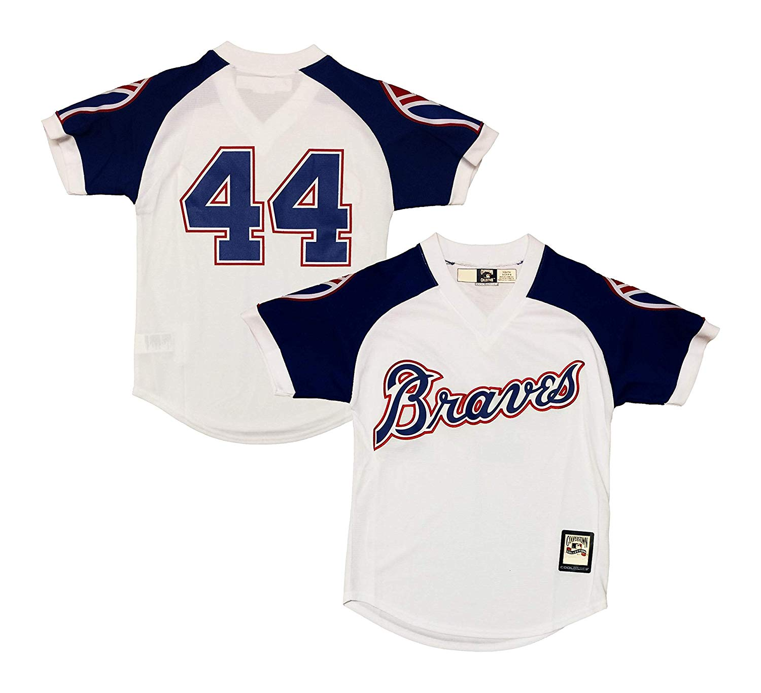 37e2bf7420e Get Quotations · Hank Aaron Atlanta Braves White Youth Cool Base  Cooperstown Jersey