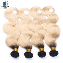 Hot Selling <span class=keywords><strong>Braziliaanse</strong></span> Body Wave Weft Ombre Haarverlenging Kleur 1B/613 Blond