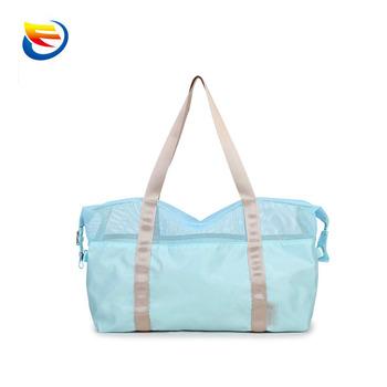 Factory Custom Half Mesh Design Storage Nylon Beach Bag With Zipper
