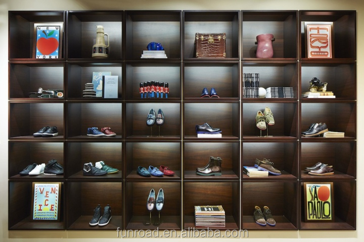 High End Wooden Sport Shoes Interior Decoration Display Cabinet