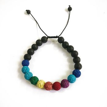 Fashion 8mm Oil Diffuser Colorful Lava Stone Bead Braided Woven Bracelet For Women and Men