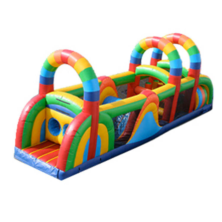 most popular Colorful Fully Enclosed Rainbow Arch inflatable obstacle course/ 7 Element obstacle challenge race for kids party
