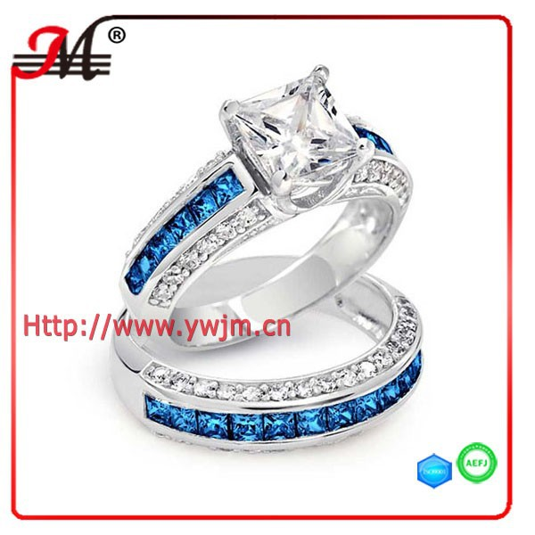 R7783WWB fashion blue and clear cz diamond princess cut zircon ring set for double