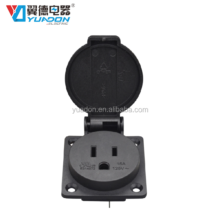 Factory supply ul listed 15A 125V IP44 weatherproof socket US Canada power outlet panel mount or wall box mount black