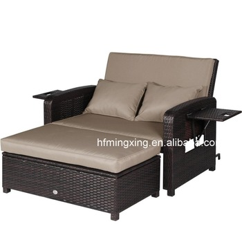 Outdoor PE Rattan Wicker Patio Loveseat And Ottoman Furniture Set Lounge  Chair