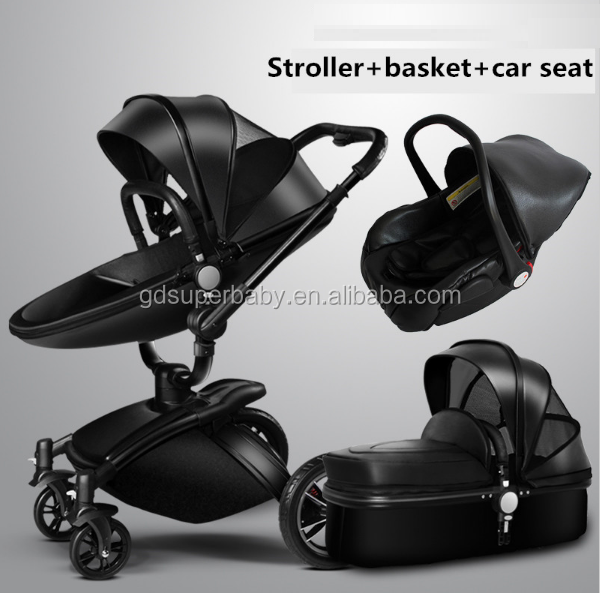 Luxury 3 In 1 Baby Stroller Pushchair W// Infant Basket Car Seat Foldable Buggy