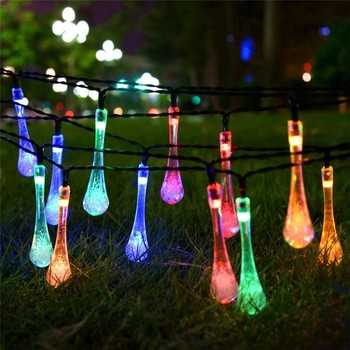 decorative string lighting. Simple String Iled Decorative String Lighting Solar Powered Outdoor Waterproof Plastic  Bulb Raindrop Shape Fairy Light For Garden For Decorative String Lighting