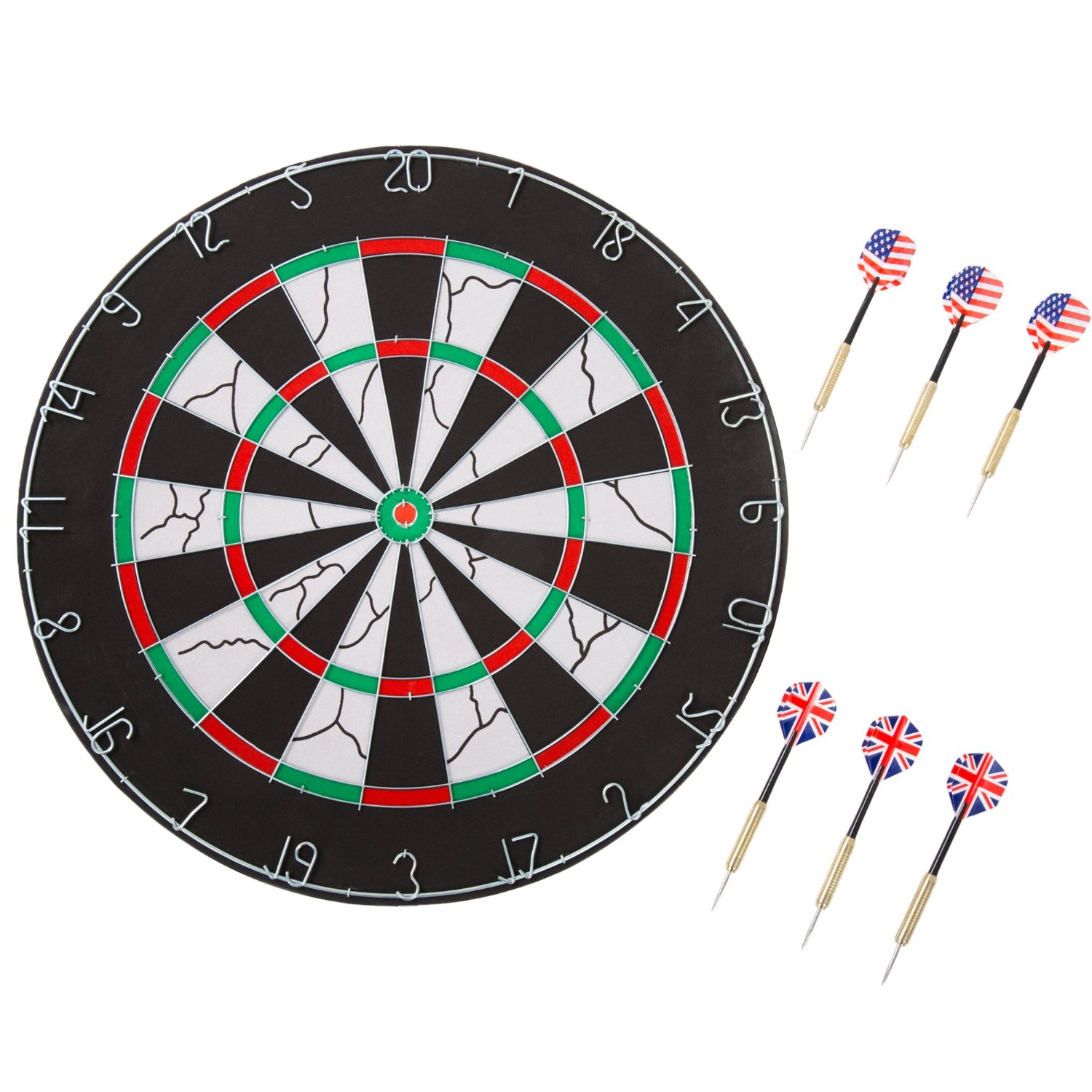 Trademark Games Double-Sided Flocked Dart Board – Regulation Size Tournament Set 6-17 Gram Steel Tip Darts Numbered Spider Indoor Play