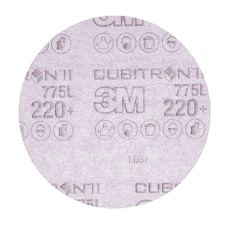 "Cubitron II 87089 3M Hookit Film Disc 775L, 6 in x NH 220+ film 3 MIL, Film, Backing, Precision Shaped Ceramic Grain, 6"", Purple (Pack of 50)"