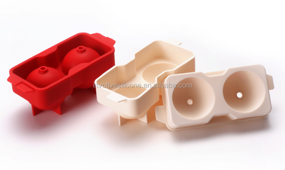 Promotional custom logo 2 cavities  silicone ice cream ball maker mould