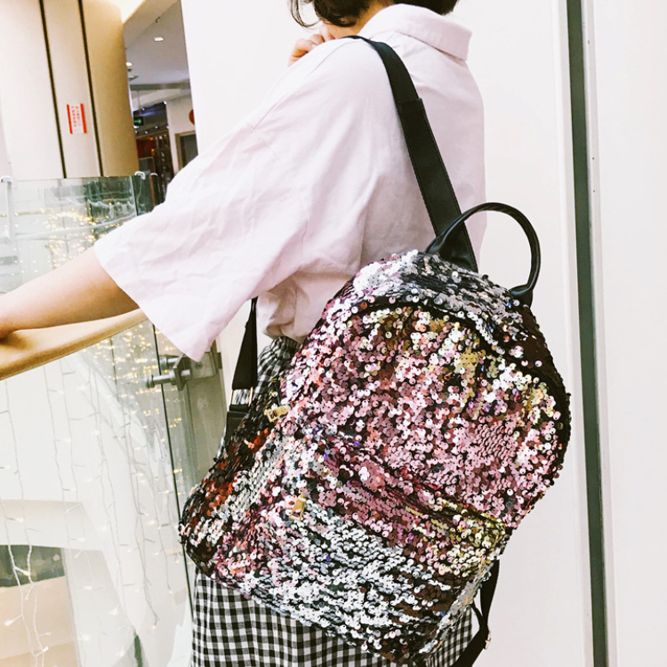 Osgoodway2 Women Colorful Glitter Shining Sequin School Backpack Bag Fashion Travelling Backpack