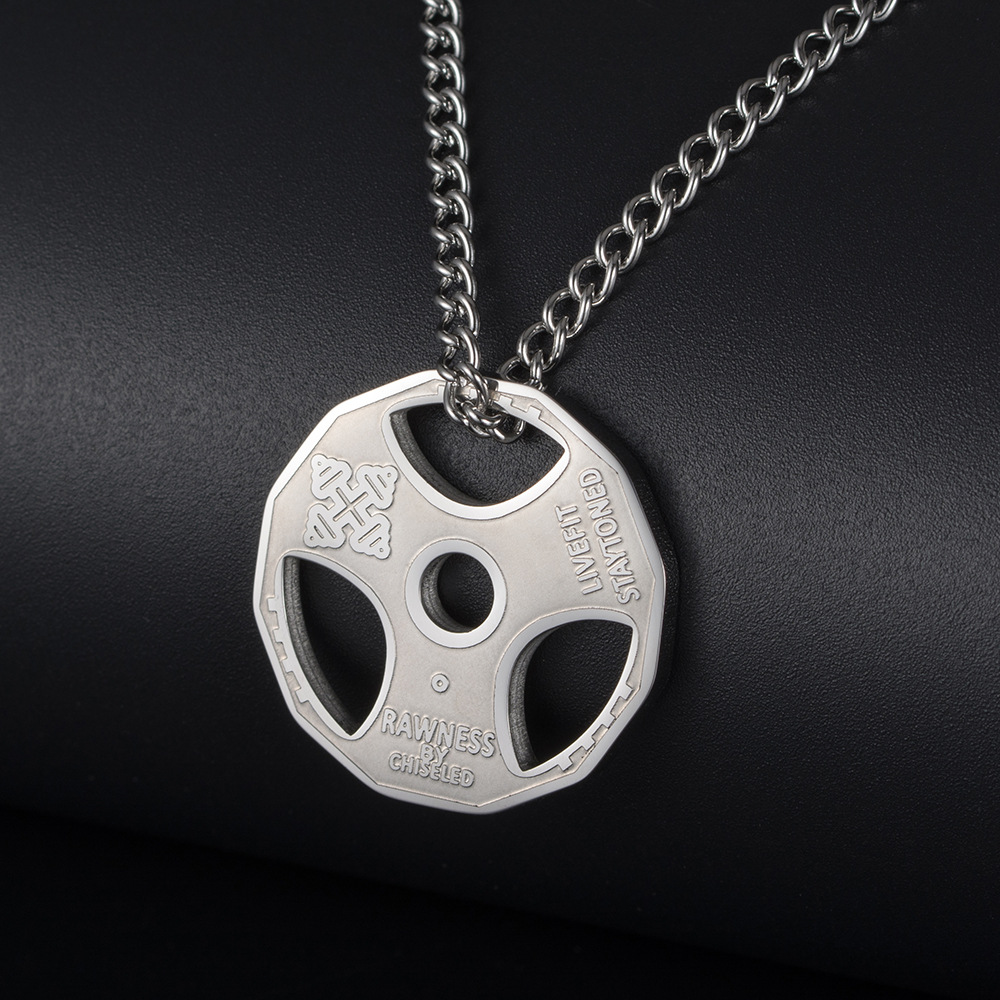 Fitness jewelry titanium steel dumbbell barbell pendant necklace