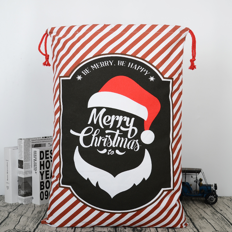 Small Shopping Drawstring Gift Cotton Christmas Gift Sack Bag