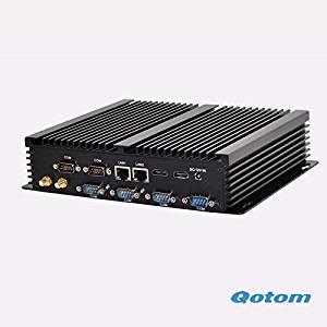 Qotom-T4200P Core I5 Fanless X86 Mini pc 8G/128G+1T HDD Wireless industrial pc 720P/1080P 4 Com pc