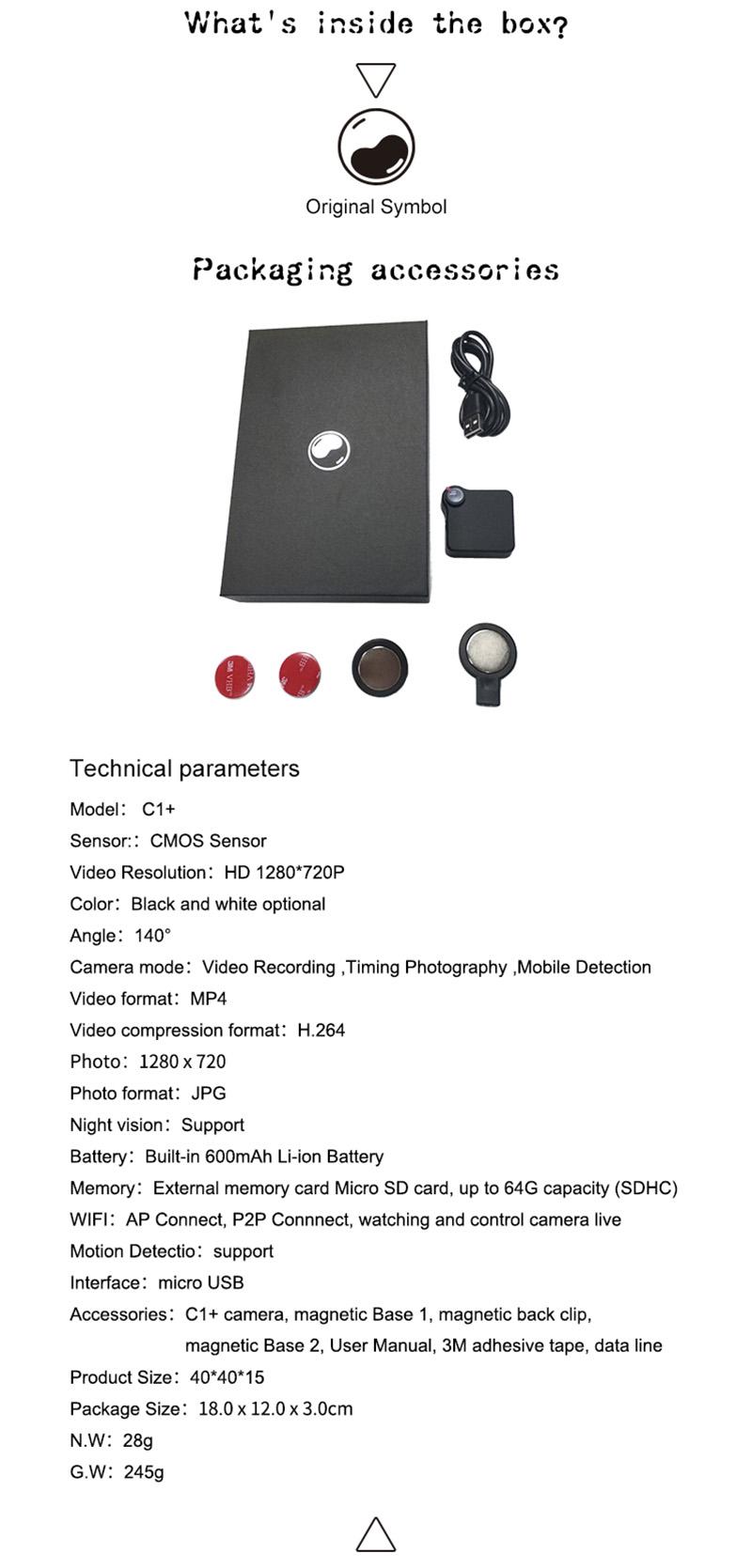 720p p2p 64g vücut giyilebilir kaydedilebilir dvr wifi mini gizli kamera ile hareket algılama
