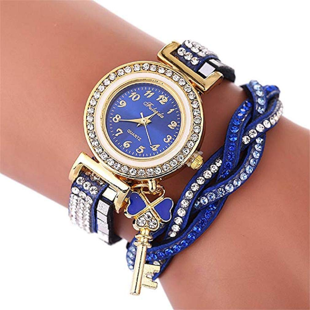 Women's Quartz Watches, Windoson Luxury Crystal Quartz Bracelet Watches Ladies Wrap Around Leather Wrist Analog Watch Fashion Wristwatch Rhinestone Watches for Women Watches Clearance (C)