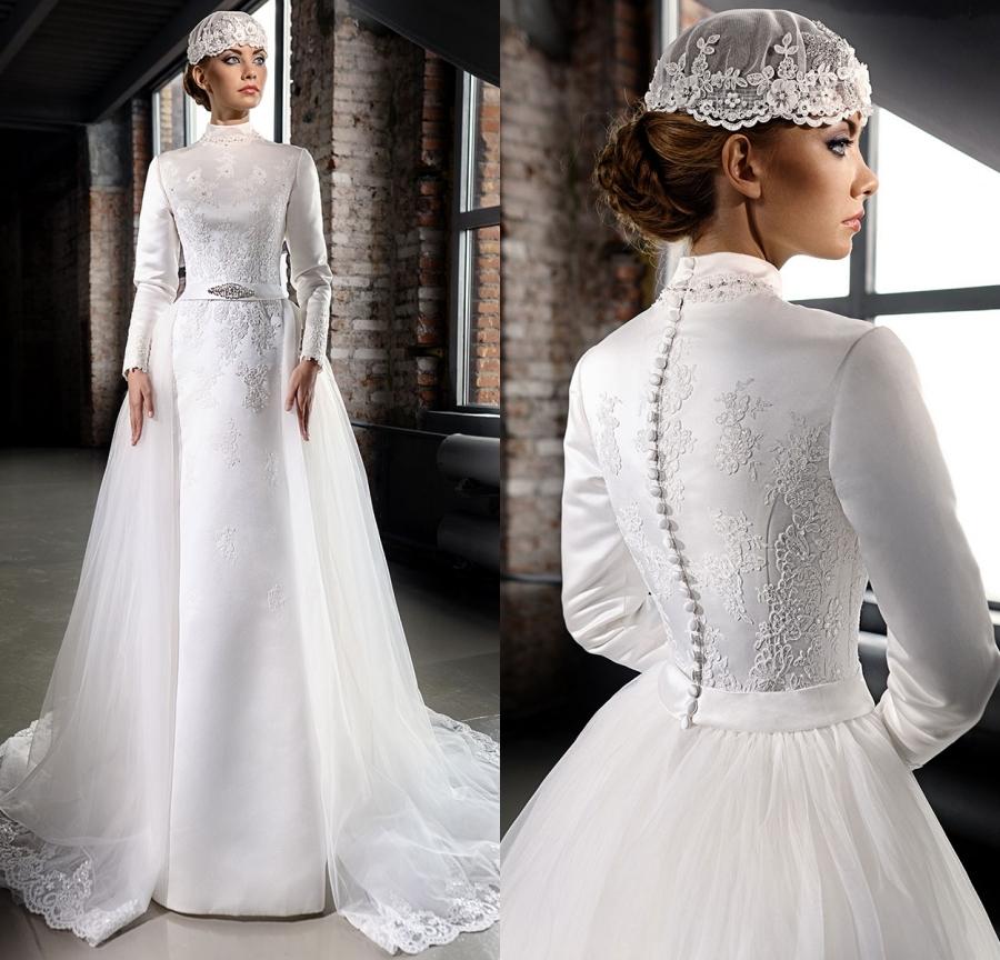 Elegant Long Sleeve Wedding Dress Muslim Dress 2015 Simple: Vestido De Noiva 2015 Elegant High Neck Wedding Dresses