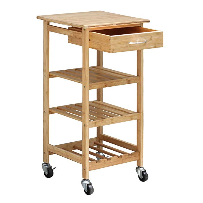 Wholesale custom 4 layer bamboo wooden kitchen trolley