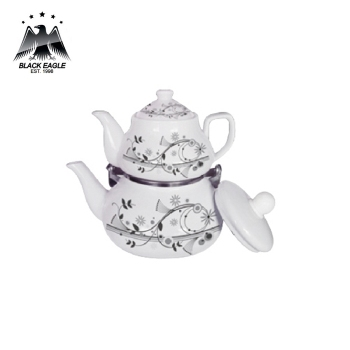 Popular design double layer enamel coating lash teapot