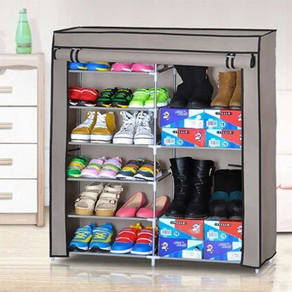 Get Quotations · Portable Shoe Rack Closet With Fabric Cover Shoe Storage  Organizer Cabinet(DK SC0602CX)