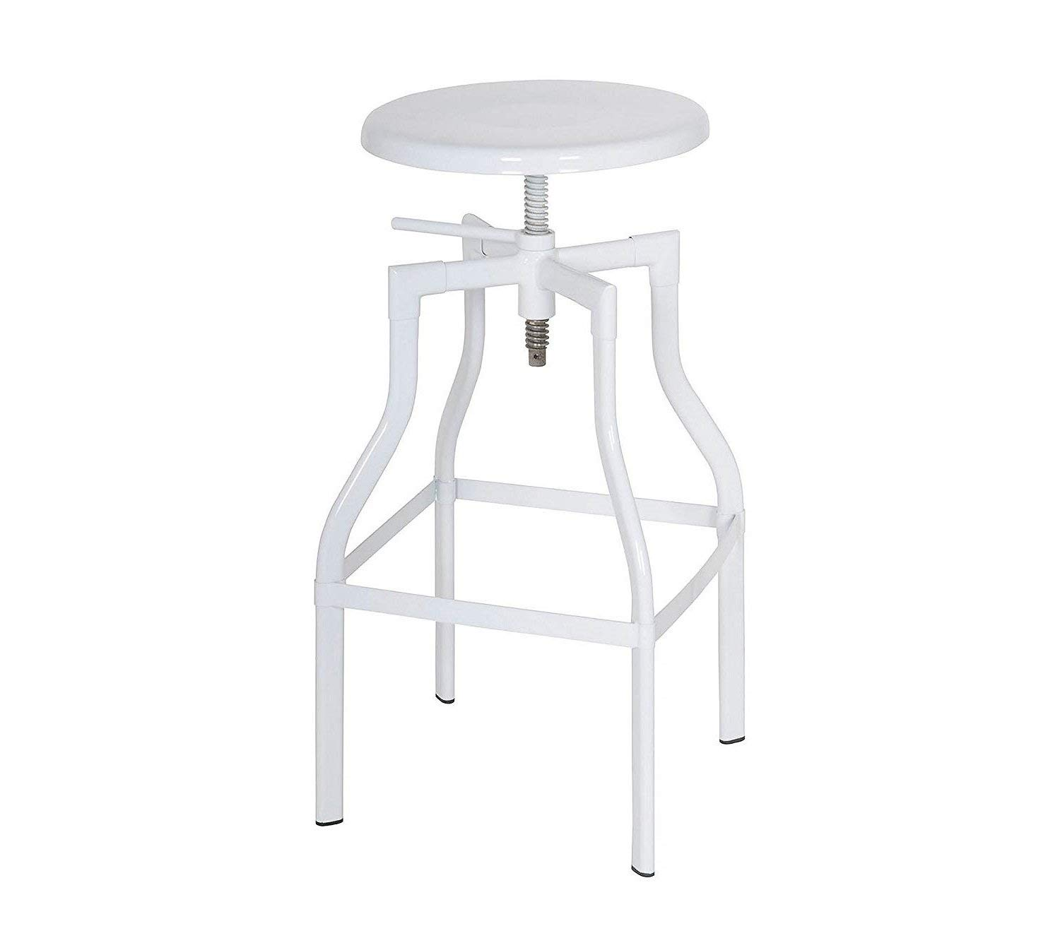 "Major-Q 24""-30"" Adjustable Seat Height Set of 2 Modern Contemporary Design Adjustable Swivel Counter Height Bar Chair Stool with White Finish (8096636)"
