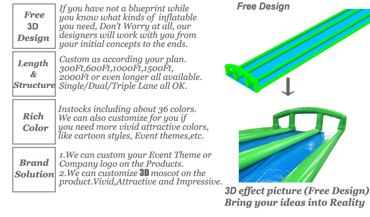 3 lane 1000 ft long slip n slide inflatable slide the citygiant company through colors and logos or let us help you with a complete new idea our art department will work with you from the initial concept design malvernweather Image collections