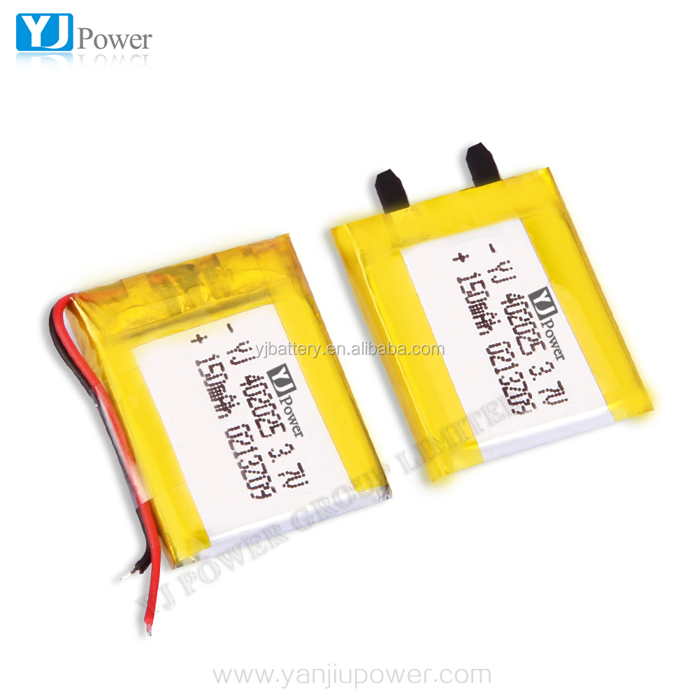YJ Power Rechargeable Li ion Polymer Battery 402025 3.7v 150mah for Mini Device