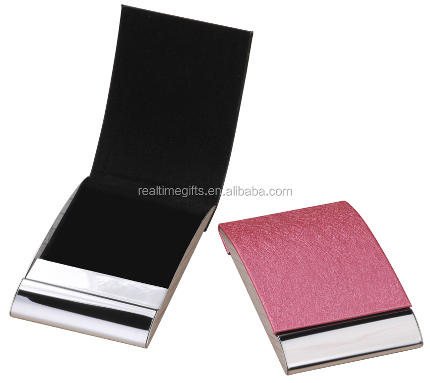 Stylish Imitation Leather Pu Pocket Metal Business Card Holder - Buy ...
