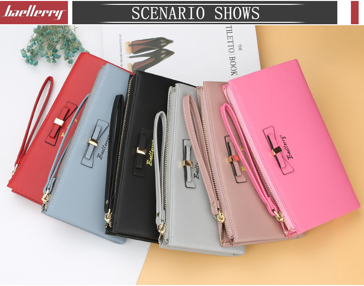 Baellerry 2018 New Style Fashion Bow-knot Long Section Large Capacity Multifunctional Clutch Wallet Fow Women With Handle Strap