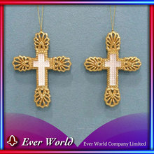 Fashion Christmas Ornament Exporting Christmas Plastic Gold Glitter Cross Ornament