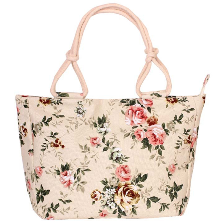 Osgoodway2 Wholesale Eco Floral Print Canvas Bags Handbag Women Large Canvas Tote Bag with Zipper