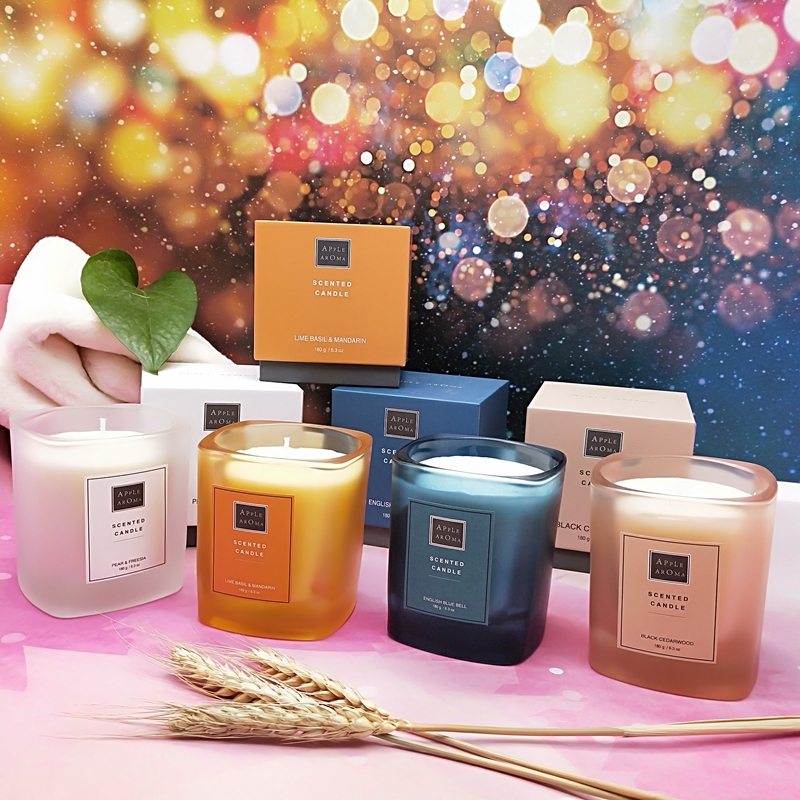 Apple Aroma Luxury Colorful Candle Scented Soy Blend Wax Glass  Candles and Private Label Scent Reed Diffuser