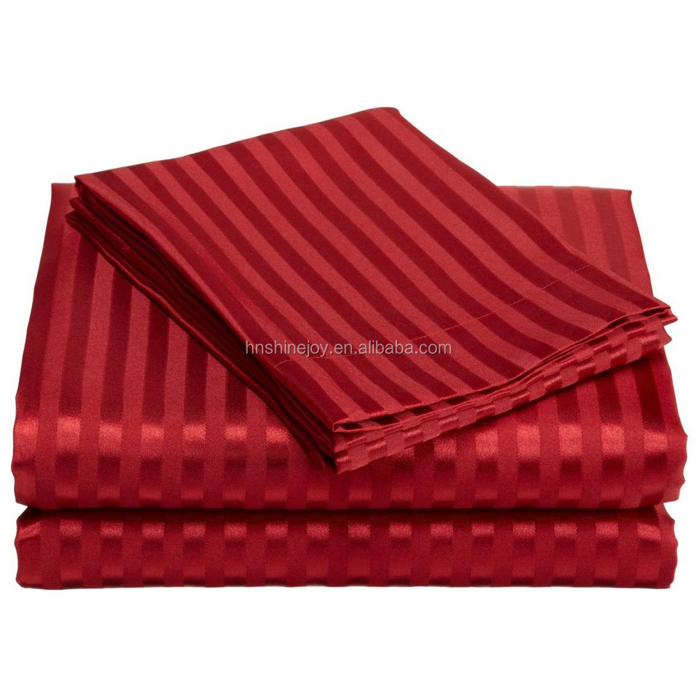 Upmarket soft 80s 100% cotton 4pcs burgundy king hotel duvet cover satin stripe