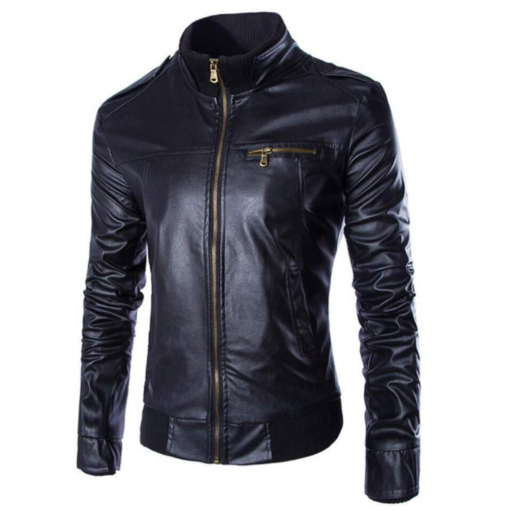 Mens Jacket,Cool Leather Outwear Zipper Slim Fit Flight Bomber Jacket Biker Coat Tops Zulmaliu