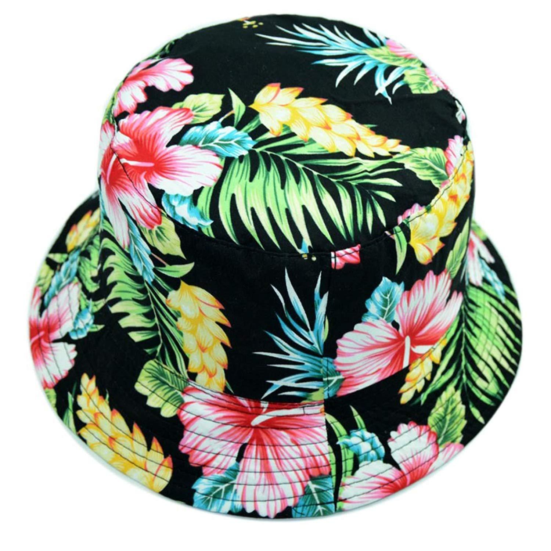 Get Quotations · LOLONG Unisex Fruit Pattern Hawaiian Bucket Flat top Hat  Soft Cap for Summer 60fe8750ede1