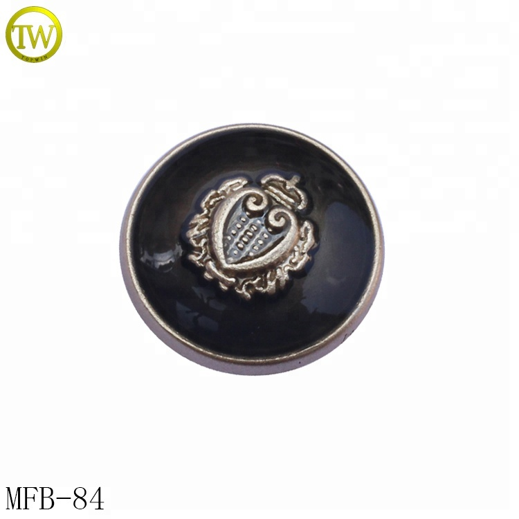 Black enamel garment metal button embossed logo metal shank sew buttons