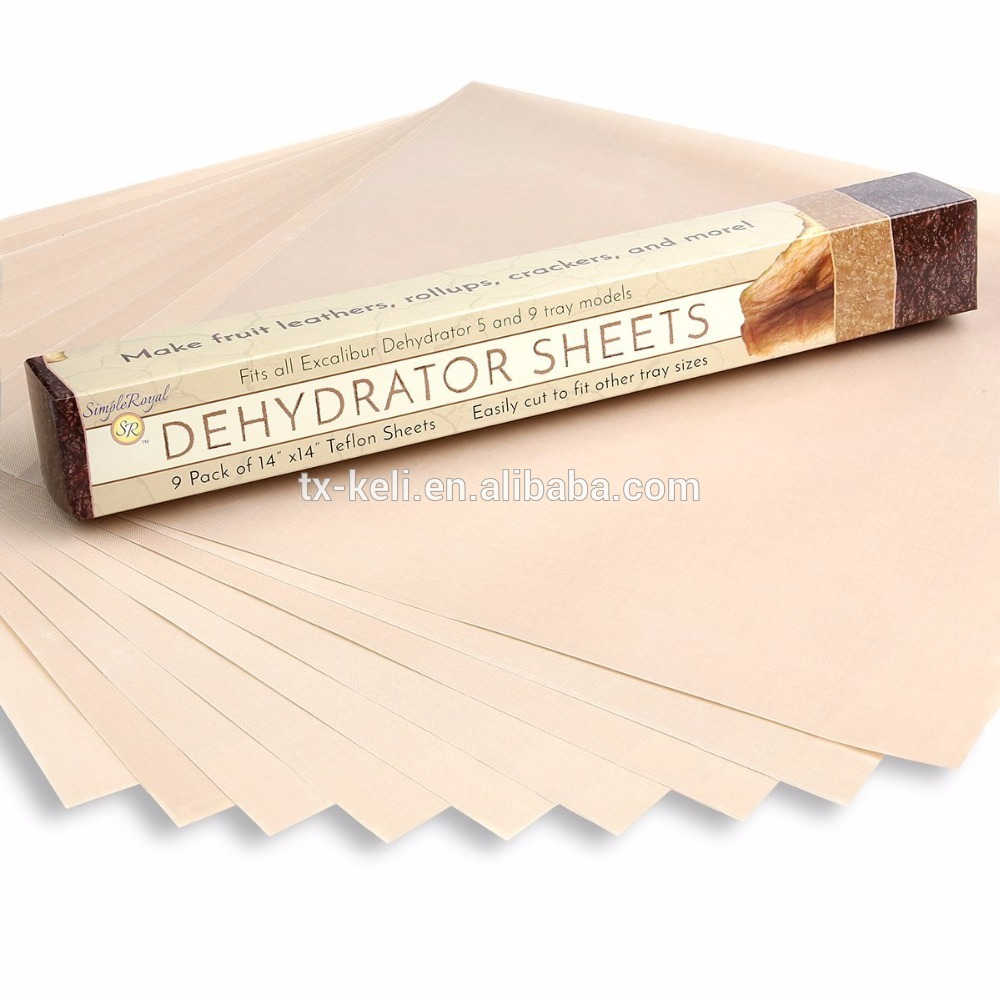Food Dehydrator Sheets, Set of 9 Premium 14x14 Non-Stick TeflonReusable Parchment Paper, Fits Excalibu