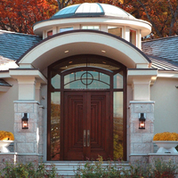 Traditional craftsman external entrance door with arch transom and sidelight