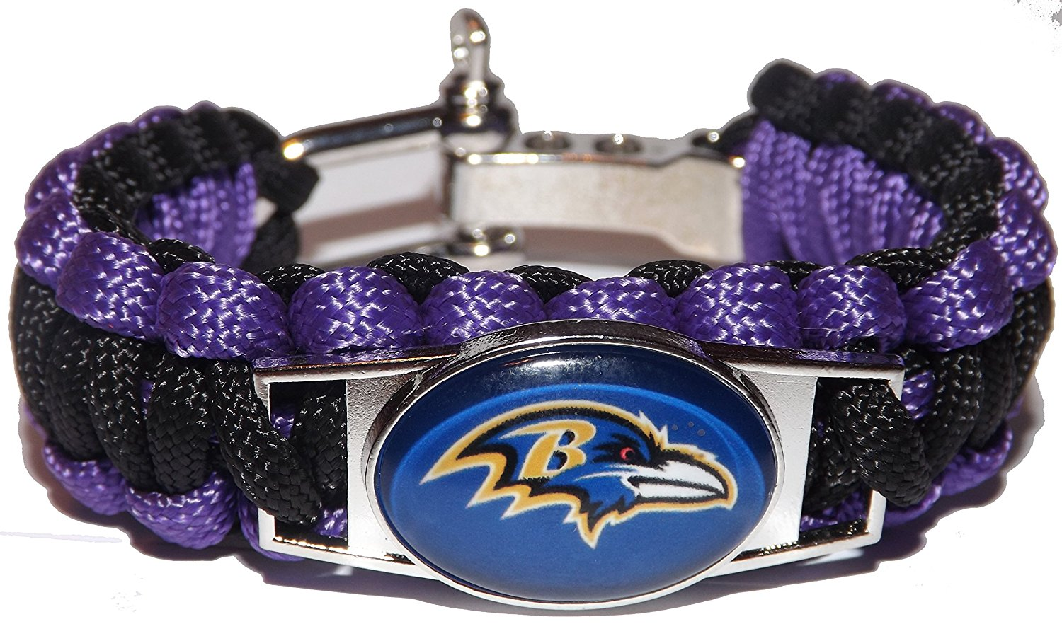 Baltimore Ravens Football Team Survival Paracord Bracelet - Custom Charm Bracelet (Baltimore Ravens)