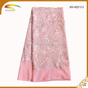 2016 hot sales nigeria pink chiffon lace for wedding dress cloth fabric