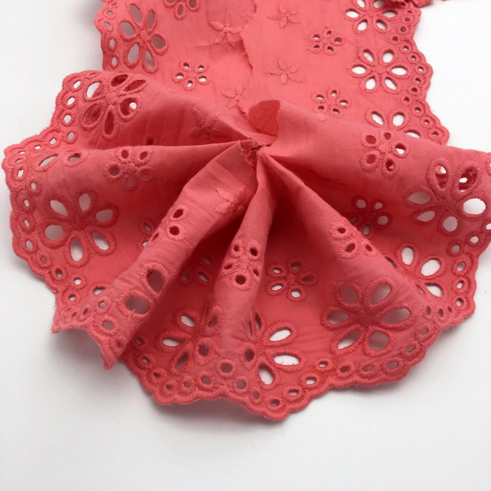 11CM OL0066 High quality charming red cotton cord lace embroidery